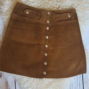 Vintage Tan Suede Leather A-Line Mini Skirt Size 6